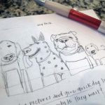 Trinity School Dog Pack Sketch 2   Claire Dunaway Studios