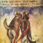 Mixed media art project of two dogs on a leash